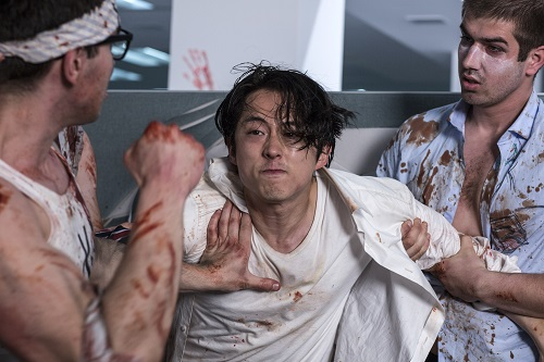 Steven Yeun as Derek Cho in the horror, action film MAYHEM, an RLJE Films release. Photo courtesy of Sanja Bucko.