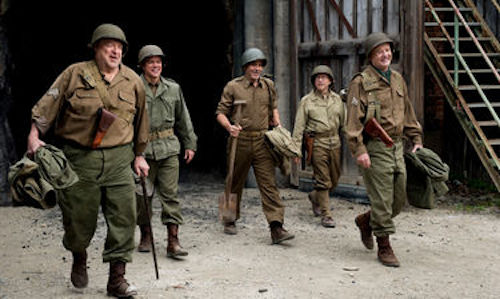 John Goodman, Matt Damon, George Clooney, Bob Balaban and Bill Murray in The Monuments Men. 2013 Claudette Barius / Lionsgate Films.