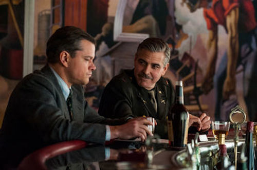 Matt Damon and George Clooney in The Monuments Men. 2013 Claudette Barius / Lionsgate Films.