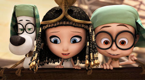 Mr. Peabody voiced by Ty Burell, Penny voiced by Ariel Winter and Sherman voiced by Max Charles in Mr. Peabody & Sherman. 2014 Twentieth Century Fox.