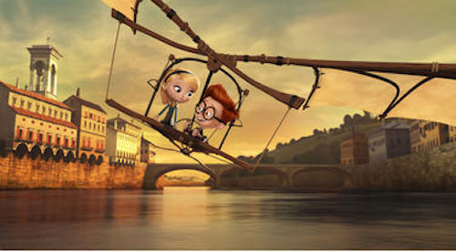 Penny voiced by Ariel Winter and Sherman voiced by Max Charles in Mr. Peabody & Sherman. 2014 Twentieth Century Fox.