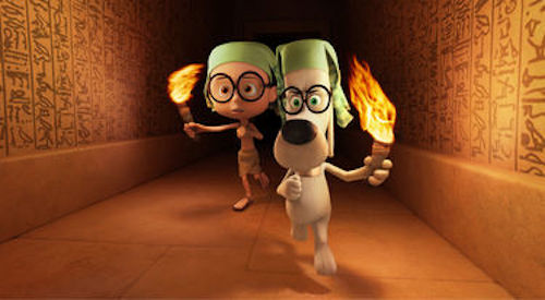 Sherman voiced by Max Charles and Mr. Peabody voiced by Ty Burell in Mr. Peabody & Sherman. 2014 Twentieth Century Fox.