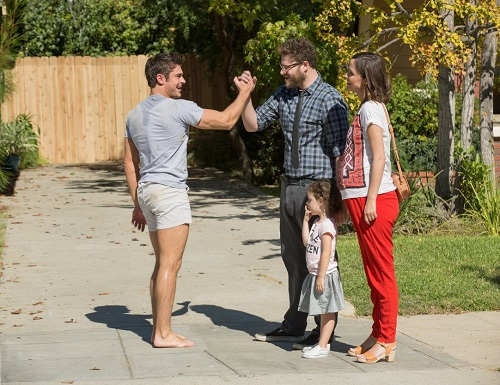 Rose Byrne, Seth Rogen, Zac Efron, Elise Vargas, and Zoey Vargas in Neighbors 2: Sorority Rising (2016).  Photo courtesy Universal Pictures.