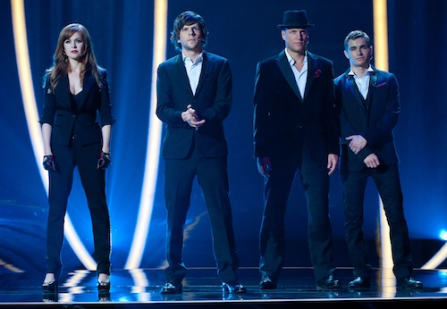 (L-R) ISLA FISHER, JESSE EISENBERG, WOODY HARRELSON and DAVE FRANCO star in NOW YOU SEE ME. Ph: Barry Wetcher 2013 Summit Entertainment, LLC. All rights reserved.