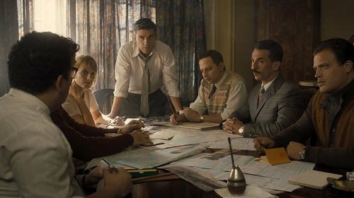 (From L to R) Mélanie Laurent as Hanna Regev, Oscar Isaac as Peter Malkin, Nick Kroll as Rafi Eitan, Michael Aronov as Zvi Aharoni, and Greg Hill as Moshe Tabor in OPERATION FINALE, written by Matthew Orton and directed by Chris Weitz, a Metro Goldwyn Mayer Pictures film. Credit: Metro Goldwyn Mayer Pictures © 2018 Metro-Goldwyn-Mayer Pictures Inc. All Rights Reserved.
