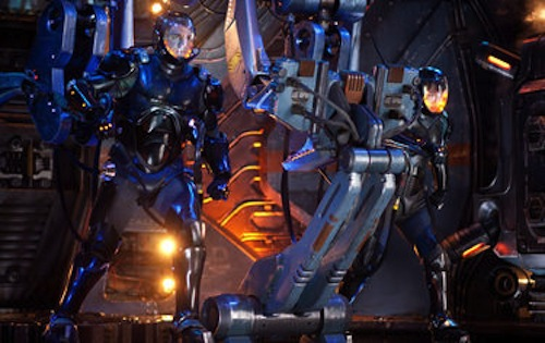Charlie Hunnam and Rinko Kikuchi in Pacific Rim. 2013 Warner Bros. Pictures.