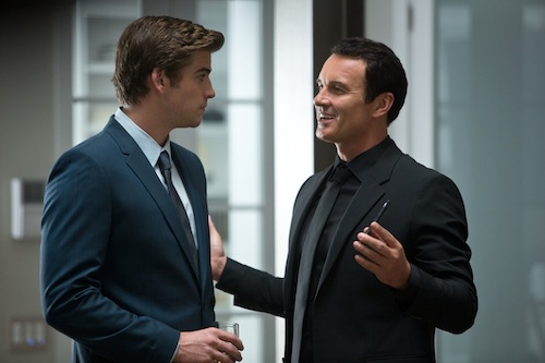 Liam Hemsworth and Julian McMahon star in Relativity Media's Paranoia. Photo Credit: Peter Iovino. © 2013 Paranoia Productions, LLC. All Rights Reserved.