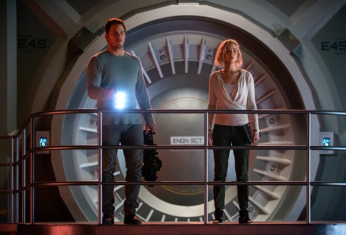 Red alert on the Avalon for Jim (CHRIS PRATT) and Aurora (JENNIFER LAWRENCE) in Columbia Pictures' PASSENGERS. 2016 Columbia Pictures Industries, Inc. All Rights Reserved. Image Property of Sony Pictures Entertainment.
