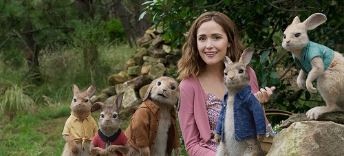 Mopsy (Elizabeth Debicki), Flopsy (Margot Robbie), Benjamin (Colin Moody), Bea (Rose Byrne), Peter Rabbit (James Corden) and Cottontail (Daisy Ridley) in Columbia Pictures' PETER RABBIT. Courtesy of Sony Pictures - © 2018 CTMG, Inc. All Rights Reserved.