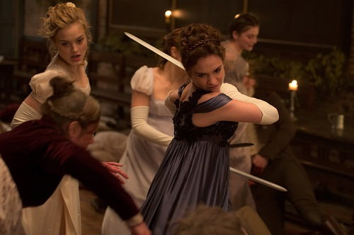 Lily James and Bella Heathcote in Screen Gems' PRIDE AND PREJUDICE AND ZOMBIES. Copyright 2015 CTMG, Inc. All Rights Reserved.