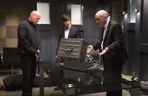BRUCE WILLIS, BYUNG HUN LEE and JOHN MALKOVICH star in RED 2. Photo: Frank Masi, SMPSP. 2013 Summit Entertainment, LLC. All rights reserved.