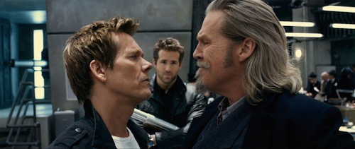 Hayes (KEVIN BACON), Nick (RYAN REYNOLDS) and Roy (JEFF BRIDGES) in the 3D supernatural action-adventure R.I.P.D. In the film, Bridges and Reynolds play two cops dispatched by the otherworldly Rest In Peace Department to protect and serve the living from an increasingly destructive array of creatures who refuse to move peacefully into the afterlife. Photo Credit: Scott Garfield. Copyright: 2013 Universal Studios. ALL RIGHTS RESERVED.