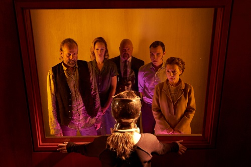 (L-R) Peter Stormare as Terrence, Kerry Bishé as Dianne, Michael Chiklis as Bald Man, Ari Millen as Dr. Raxlen, and Lesley Manville as Dr. Nyman in the sci-fi thriller