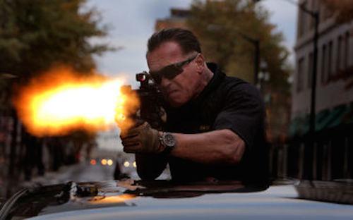 Arnold Schwarzenegger as Breacher in Sabotage. 2014 Open Road Films.