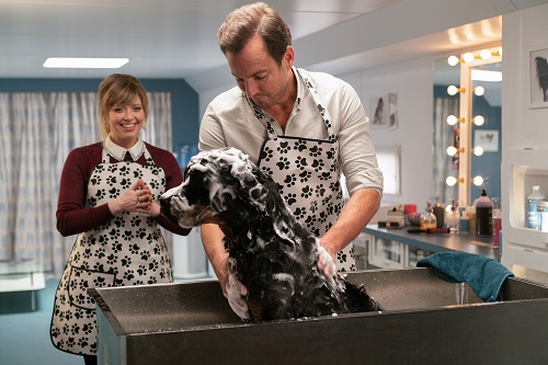 Natasha Lyonne, Max, voiced by Chris 'Ludacris' Bridges, and Will Arnett in SHOW DOGS. Photo credit: Adrian Rogers / Distributor: Global Road Entertainment.