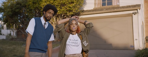 (l to r.) Lakeith Stanfield as Cassius Green and Tessa Thompson as Detroit star in director Boots Riley's SORRY TO BOTHER YOU, an Annapurna Pictures release. Credit: Annapurna Pictures.