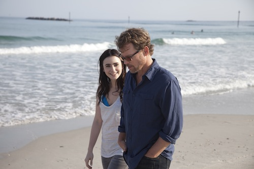 Lily Collins as Samantha Borgens and Greg Kinnear as Bill Borgens in STUCK IN LOVE. Photo courtesy of Millennium Entertainment.