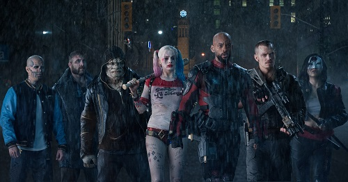 (L-R) JAY HERNANDEZ as Diablo, JAI COURTNEY as Boomerang, ADEWALE AKINNUOYE-AGBAJE as Killer Croc, MARGOT ROBBIE as Harley Quinn, WILL SMITH as Deadshot, JOEL KINNAMAN as Rick Flag and KAREN FUKUHARA as Katana in Warner Bros. Pictures' action adventure SUICIDE SQUAD, a Warner Bros. Pictures release.