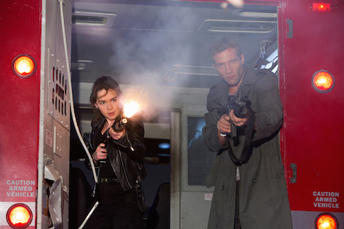 Emilia Clarke plays Sarah Connor and Jai Courtney plays Kyle Reese in TERMINATOR GENISYS from Paramount Pictures and Skydance Productions. Photo credit: Melinda Sue Gordon. 2015 Paramount Pictures. All rights reserved.