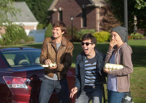 Gus (Ansel Elgort), Isaac (Nat Wolff), and Hazel (Shailene Woodley) enjoy their egg-throwing prank. Photo Credit: James Bridges © 2013 Twentieth Century Fox Film Corporation. All Rights Reserved. Not for Sale or Duplication.