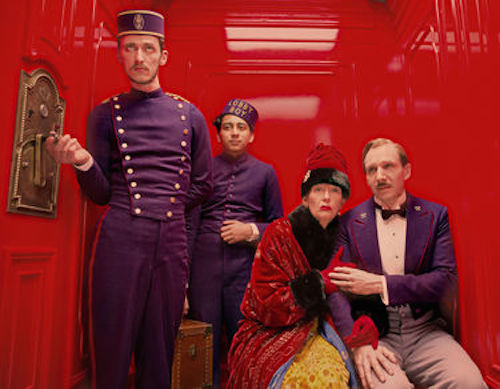 Paul Schlase as Igor, Tony Revelori as Zero, Tilda Swinton as Madame D. and Ralph Fiennes as M. Gustave. in The Grand Budapest Hotel. 2014 Fox Seachlight Pictures.