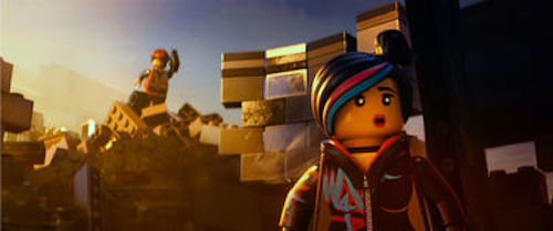 Emmet voiced by Chris Pratt and Wyldstyle voiced by Elizabeth Banks in The LEGO Movie. 2014 Warner Bros.