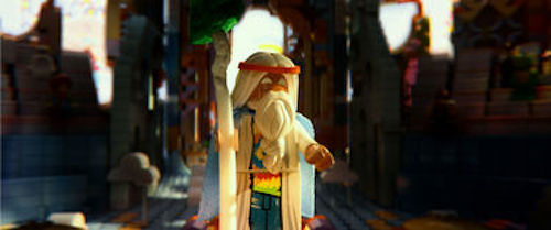 Vitruvius voiced by Morgan Freeman in The LEGO Movie. 2014 Warner Bros.