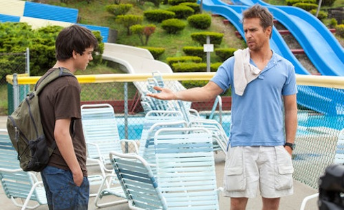 Liam James as Duncan and Sam Rockwell as Owen on the set of THE WAY WAY BACK. Photo By: Claire Folger
