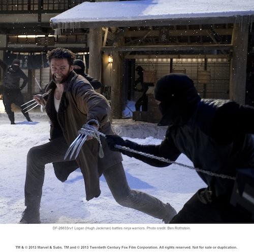 Logan (Hugh Jackman) battles ninja warriors. Photo credit: Ben Rothstein.