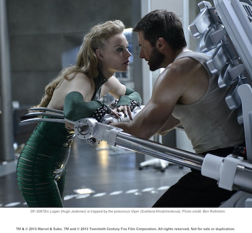 Logan (Hugh Jackman) is trapped by the poisonous Viper (Svetlana Khodchenkova). Photo credit: Ben Rothstein.