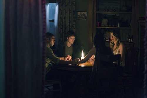 (Left to Right) Lucien Laviscount, Douglas Smith, Jenna Kanell, and Cressida Bonas in THE BYE BYE MAN, photo courtesy STX Productions, All rights reserved.