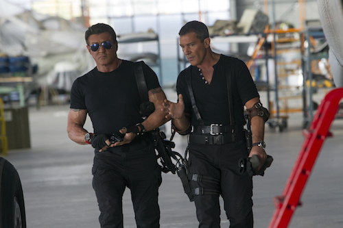 Barney Ross (Sylvester Stallone, left) and Galgo (Antonio Banderas, right) in THE EXPENDABLES 3. Photo Credit: Phil Bray.