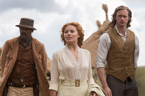 (L-r) SAMUEL L. JACKSON as George Washington Williams, MARGOT ROBBIE as Jane and ALEXANDER SKARSGÅRD as Tarzan in Warner Bros. Pictures' and Village Roadshow Pictures' action adventure