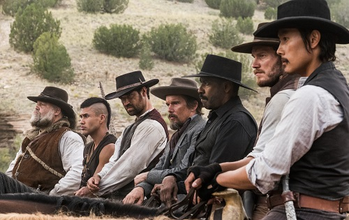 (l to r) Vincent D'Onofrio, Martin Sensmeier, Manuel Garcia-Rulfo, Ethan Hawke, Denzel Washington, Chris Pratt and Byung-hun Lee star in Metro-Goldwyn-Mayer Pictures and Columbia Pictures' THE MAGNIFICENT SEVEN. Photo courtesy Sony Pictures Entertainment INC., All Rights Reserved.