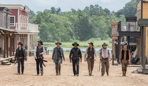 (l to r) Byung-hun Lee, Manuel Garcia-Rulfo, Ethan Hawke, Denzel Washington, Chris Pratt, Vincent D'Onofrio and Martin Sensmeier in Metro-Goldwyn-Mayer Pictures and Columbia Pictures' THE MAGNIFICENT SEVEN. Photo courtesy Sony Pictures Entertainment INC., All Rights Reserved.