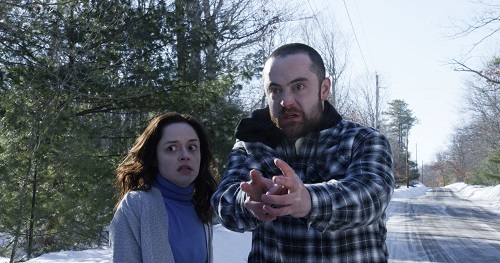 (L-R) Lauren Ashley Carter as Rachel Meadows and Graham Skipper as Zack Connors in the horror film THE MIND'S EYE, an RLJ Entertainment release. Photo credit Joe Begos.