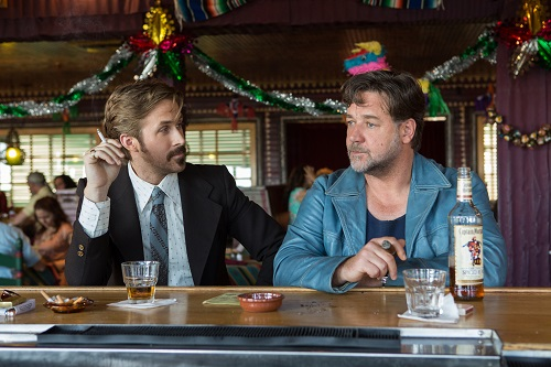 (L-r) RYAN GOSLING as Holland March and RUSSELL CROWE as Jackson Healy in Warner Bros. Pictures' action comedy