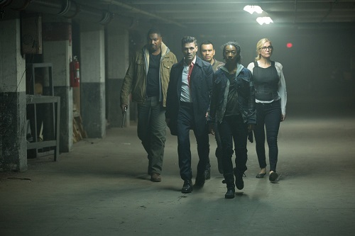 Frank Grillo, Elizabeth Mitchell, Mykelti Williamson, Joseph Julian Soria, and Betty Gabriel in The Purge: Election Year (2016).  Photo by Michele K. Short courtesy of Universal Pictures.