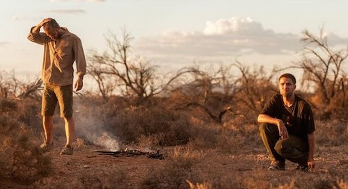 Robert Pattinson and Guy Pearce in The Rover. 2014 A24 Films.