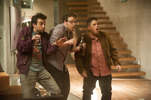 L-r, Jay Baruchel, Seth Rogen and Jonah Hill in Columbia Pictures' This Is The End. PHOTO BY: Suzanne Hanover, SMPSP 					COPYRIGHT:	© 2012 Columbia Pictures Industries, Inc. All Rights Reserved. **ALL IMAGES ARE PROPERTY OF SONY PICTURES ENTERTAINMENT INC. FOR PROMOTIONAL USE ONLY. SALE, DUPLICATION OR TRANSFER OF THIS MATERIAL IS STRICTLY PROHIBITED.