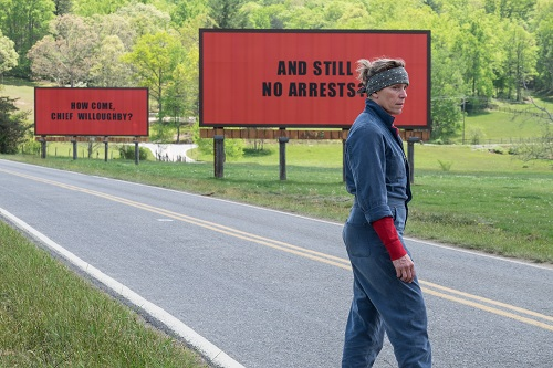Frances McDormand as Mildred Hayes in THREE BILLBOARDS OUTSIDE EBBING, MISSOURI. Photo by Merrick Morton, courtesy of Fox Searchlight Pictures.
