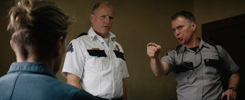 Woody Harrelson and Sam Rockwell in the film THREE BILLBOARDS OUTSIDE EBBING, MISSOURI. Photo by Merrick Morton, © 2017 Twentieth Century Fox Film Corporation All Rights Reserved.