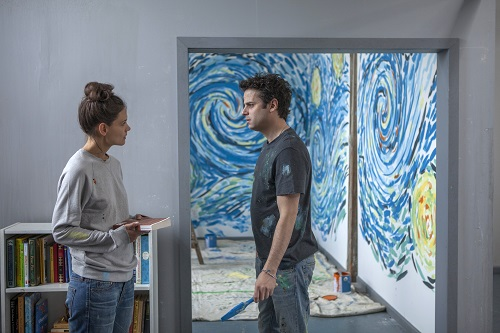 Katie Holmes and Luke Kirby in Paul Dalio's TOUCHED WITH FIRE. Photographer: Joey Kuhn.