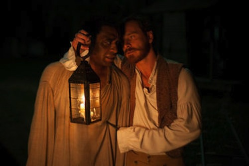 Chiwetel Ejiofor as Solomon Northup and Michael Fassbender as Edwin Epps in Twelve Years a Slave. 2013 Fox Searchlight.