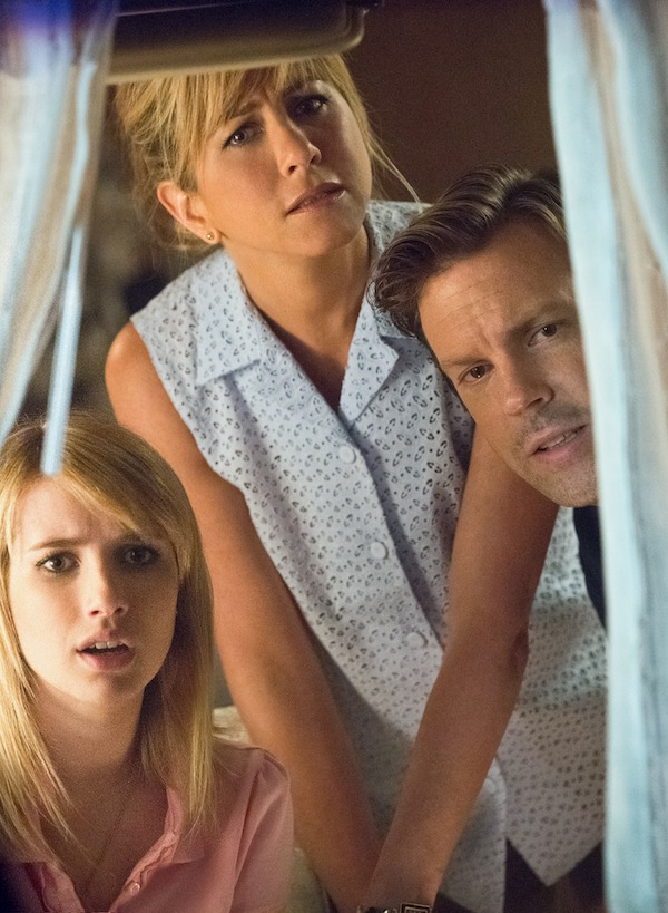EMMA ROBERTS as Casey, JENNIFER ANISTON as Rose and JASON SUDEIKIS as David Burke in New Line Cinema's action comedy