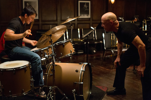 Left to right: Miles Teller as Andrew and J.K. Simmons as Fletcher. Photo by Daniel McFadden, Courtesy of Sony Pictures Classics