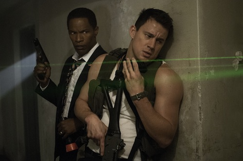 Jamie Foxx, left, and Channing Tatum star in Columbia Pictures' White House Down. PHOTO BY:	Reiner Bajo COPYRIGHT: 2013 Columbia Pictures Industries, Inc. All Rights Reserved. ALL IMAGES ARE PROPERTY OF SONY PICTURES ENTERTAINMENT INC. FOR PROMOTIONAL USE ONLY. SALE, DUPLICATION OR TRANSFER OF THIS MATERIAL IS STRICTLY PROHIBITED.