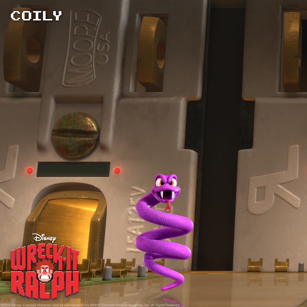 Coily: Bouncing Purple Snake Once the bouncing purple villain in the Q*Bert arcade game, Coily finds himself hanging with his former adversary in Game Central Station after their game is unplugged.
