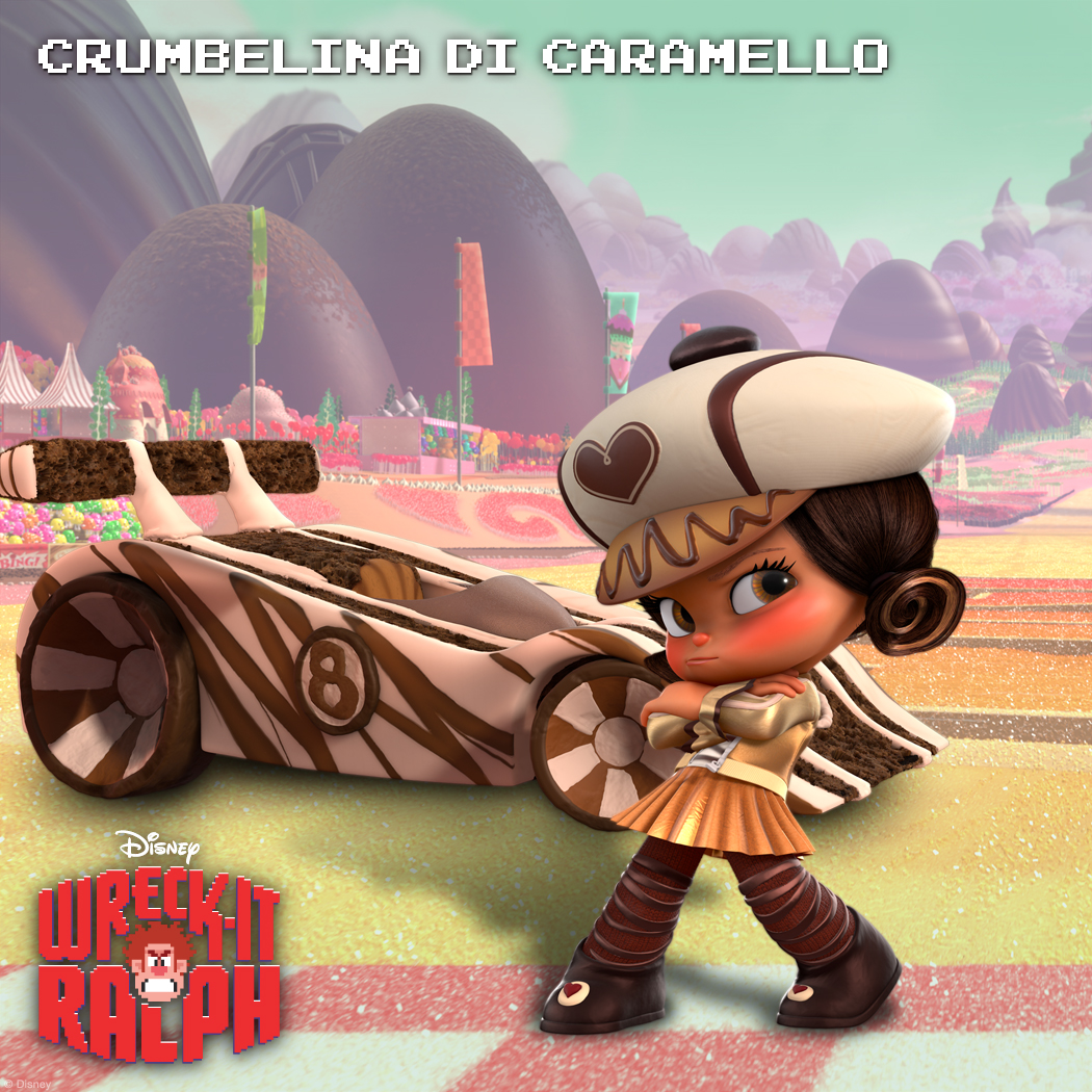 Crumbelina DiCaramello: Likes it Luxe  With the exterior of a polished piece of peppermint, Crumbelina DiCaramello is the poshest racer in Sugar Rush. But when it comes to racing, extravagance and wealth don't distract DiCaramello: She considers herself a down-and-dirty racer.