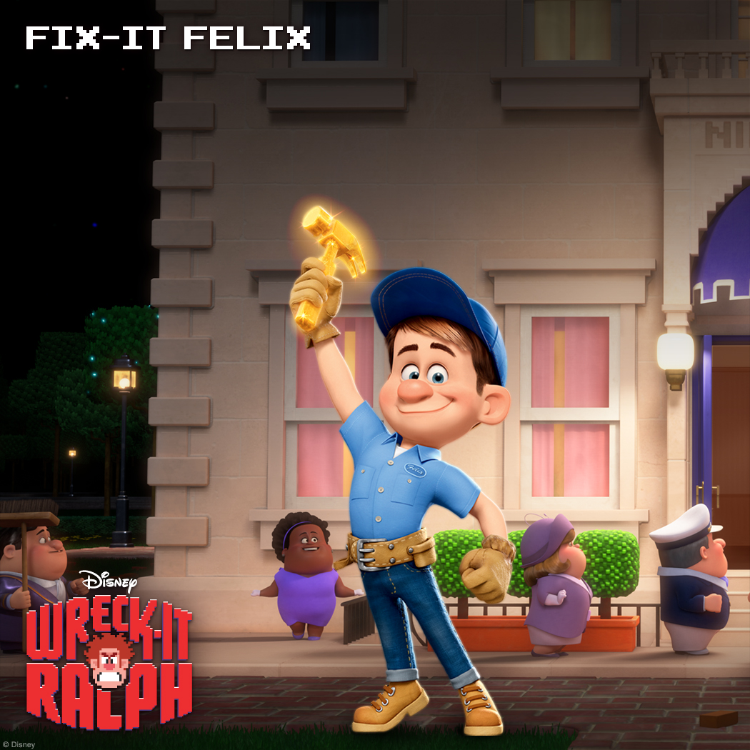 "Fix-It Felix Jr.: The All-Around Good Guy Felix is the popular star of Fix-It Felix Jr. and Niceland's hammer-wielding maintenance man who's beloved by all. When he is not busy fixin' all of Ralph's wreckin', this gold-medal-winning good guy is being showered with kisses, praise and pies from his tenants. Hardwired for niceness, anything other than being ""The Good Guy"" just doesn't compute."